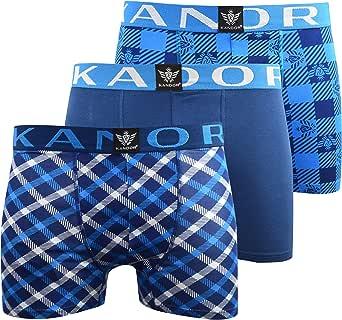 KANDOR Mens Boxers (3 Pack) Multipacked Underwear Set Mens Underwear Boxer Shorts Colourful Print Men Briefs Boxers