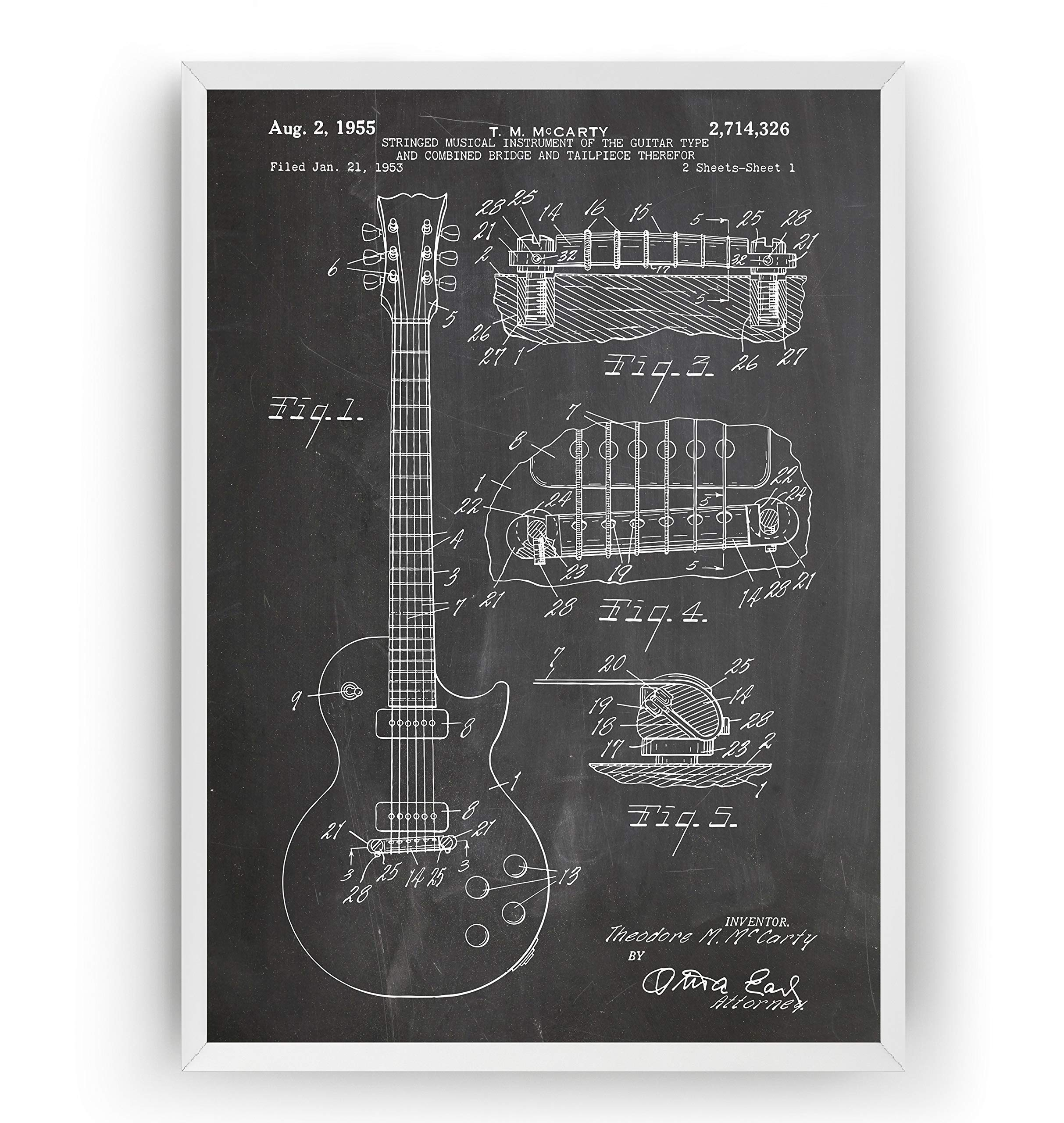 Electric Guitar Patent Print – Les Paul 1955 – Vintage Poster Teacher Wall Art Posters Gifts For Men Women Music Room Blueprint Instrument Decor – Frame Not Included