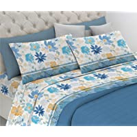 HomeLife Parure de lit 2 places en pur coton fabriqué en Italie avec 2 taies d'oreiller fantaisie colorée fleurs 240 x…