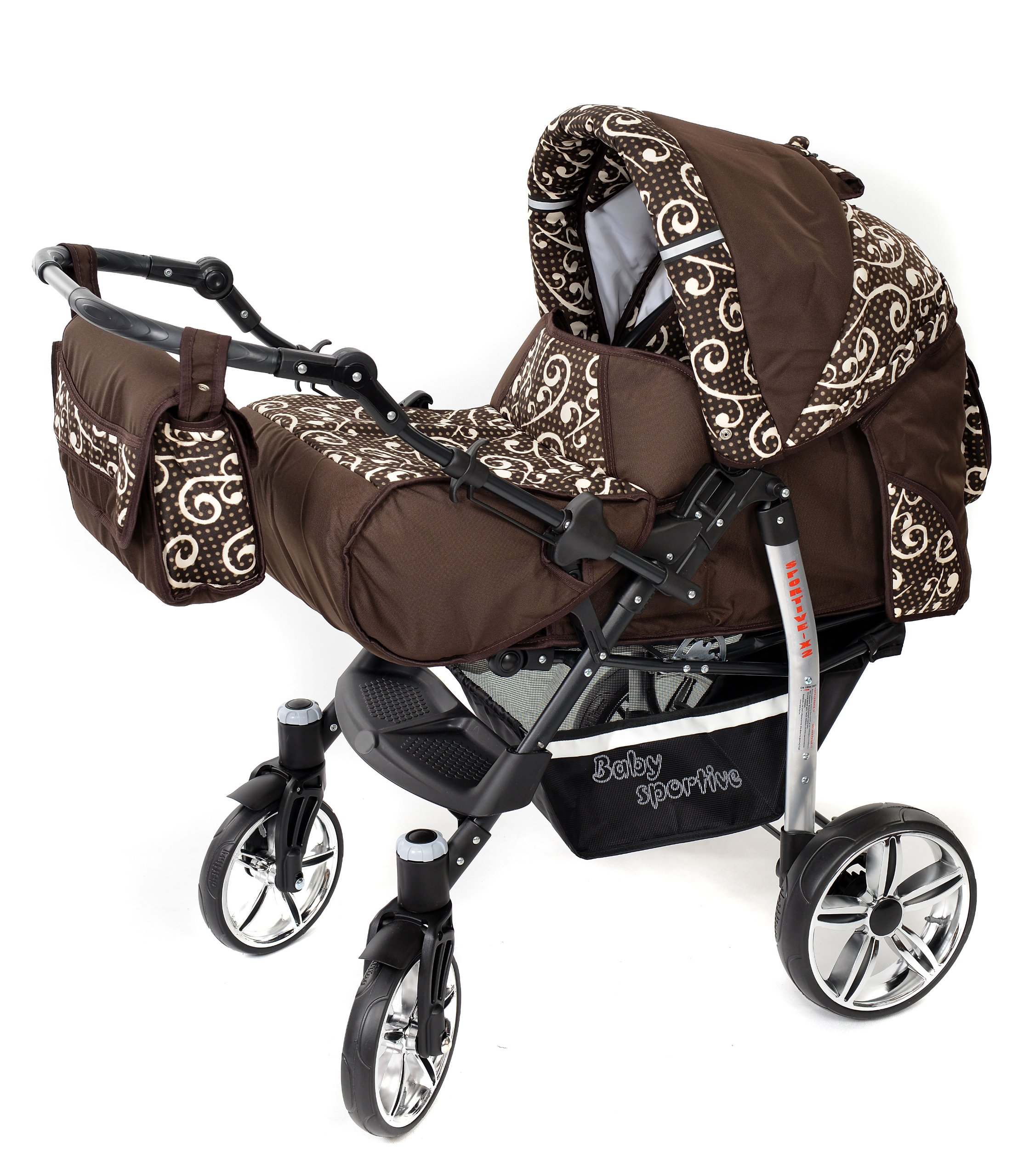Sportive X2, 3-in-1 Travel System incl. Baby Pram with Swivel Wheels, Car Seat, Pushchair & Accessories (3-in-1 Travel System, Brown & Wawy Lines)  3 in 1 Travel System All in One Set - Pram, Car Carrier Seat and Sport Buggy + Accessories: carrier bag, rain protection, mosquito net, changing mat, removable bottle holder and removable tray for your child's bits and pieces Suitable from birth, Easy Quick Folding System; Large storage basket; Turnable handle bar that allows to face or rear the drive direction; Quick release rear wheels for easy cleaning after muddy walks Front lockable 360o swivel wheels for manoeuvrability , Small sized when folded, fits into many small car trunks, Carry-cot with a removable hood, Reflective elements for better visibility 2