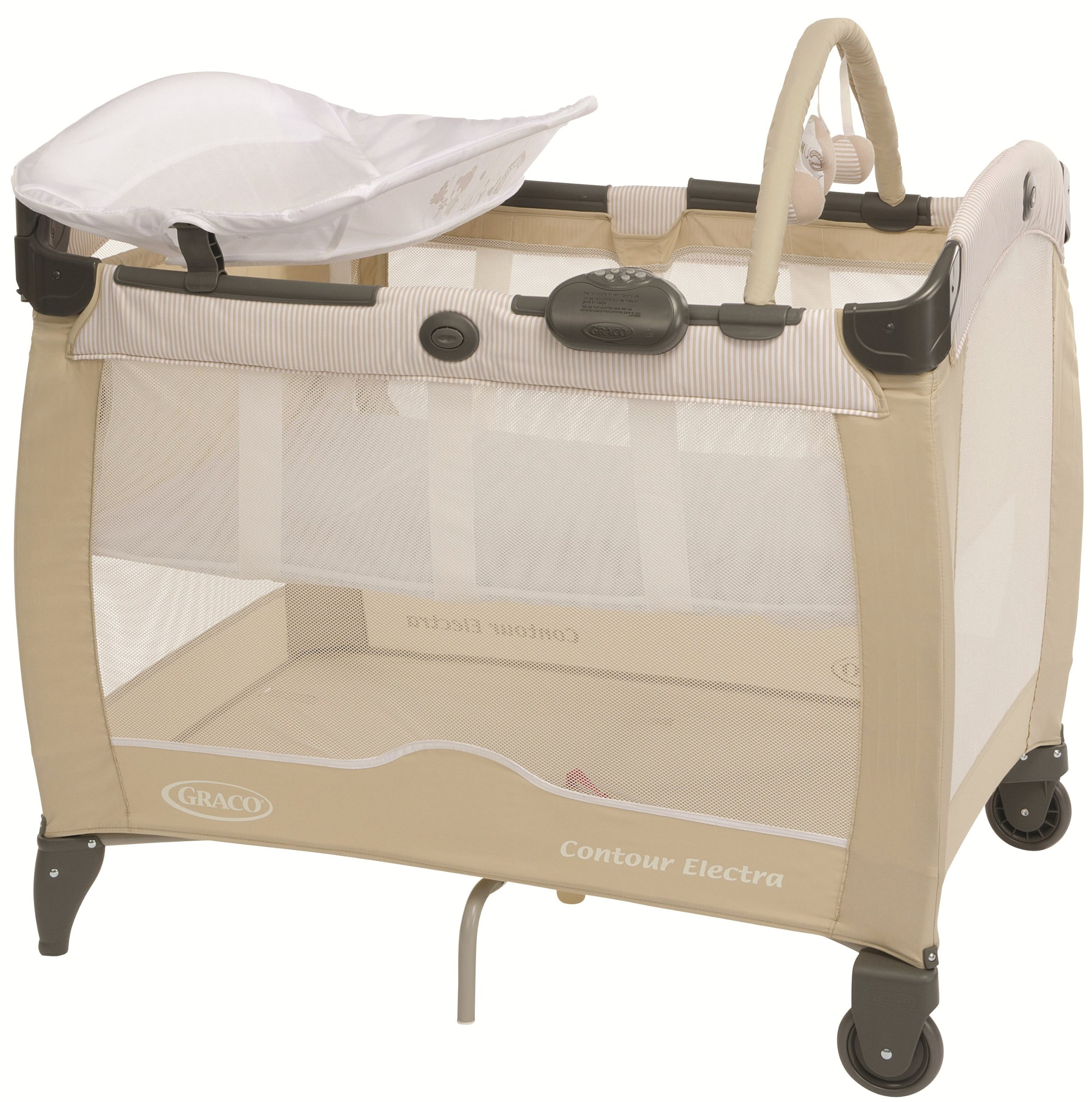 Graco Contour Electra Travel Cot - Benny and Bell Graco The bassinet is suitable from birth to 6.5 kg/3 months The bed is suitable from birth to about 3 years/15 kg Detachable control box for night light, music and vibration 1