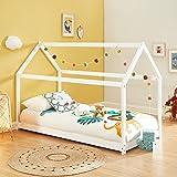 BAÏTA Lit cabane Enfant Montessori Tiny - Bois Massif de pin Blanc - 90x190cm