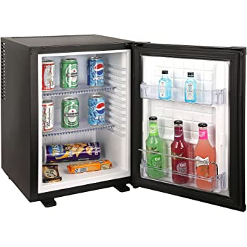 klarstein mini frigo silencieux 50l minibar avec compartiment pour bac glacons acier. Black Bedroom Furniture Sets. Home Design Ideas