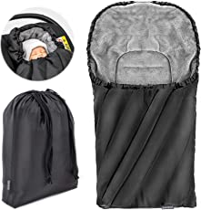 Universal Fußsack Deluxe für Babyschale (z.B. Maxi-Cosi, Cybex, Kiddy)   Baby Winter-Fußsack aus weichem Thermo Fleece mit Gurtschlitzen, Kapuze und Tasche - Schwarz Grau