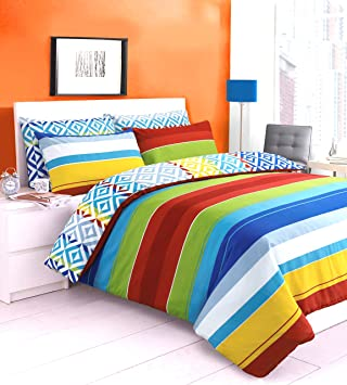 reversible zig zag stripes duvet quilt cover bedding set printed rainbow jigsaw stripes yellow blue green red white striped reversible bedding