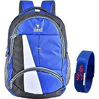 BLUTECH Polyester 36 Liters Waterproof Royal Blue School Backpack+Blue Digital LED Unsex Free