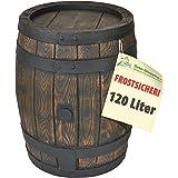 REGENTONNE EICHENFASS 120 Liter REGENFASS Wasserfass REGENWASSERTONNE Wassertonne - FROSTSICHERES Gartenfass für Regenwasser u.v.m. in Holz-Optik aus robustem PE-Kunststoff