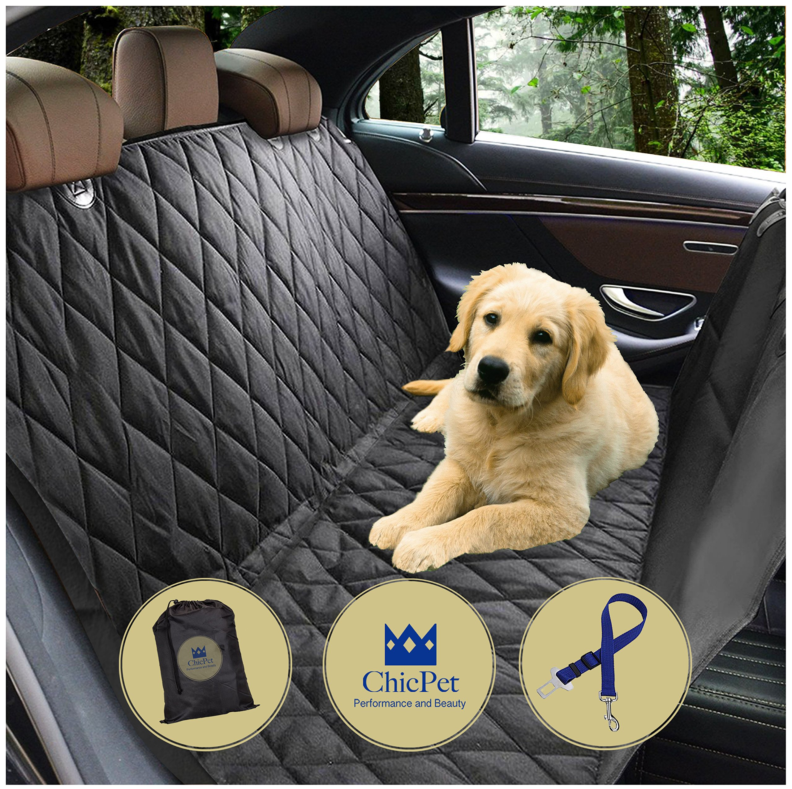 Dog Car Seat Cover, Boot Liner, Dog Hammock, For Pets and Kids with Pet Seat Belt Lead and Storage Bag, Waterproof, Washable, Non Slip, Fits all Cars Trucks SUVs Black