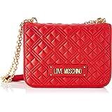 Love Moschino Precollezione ss21, Borsa a Spalla da Donna PU, New Shiny Quilted, Rosso, Normal