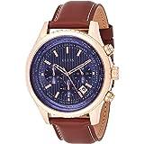 Montre Homme Guess Watch W0500G1 Chronographe - Bracelet Cuir Marron - Cadran Bleu