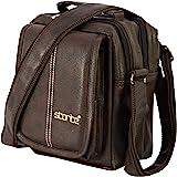 Storite Stylish PU Leather Sling Cross Body Travel Office Business Messenger One Side Shoulder Bag for Men Women(Brown, 20.5x