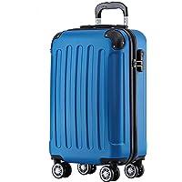 BEIBYE Hartschalen-Koffer Trolley Rollkoffer Reisekoffer Handgepäck 4 Rollen (M-L-XL-Set) (Blau, M)