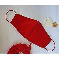 Mascherina artigianale lavabile rosso rossa bianca italia cotone con tasca per filtro maschera protezione facciale