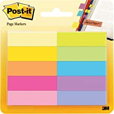 """Post-it""""Page Marker"""" Haftstreifen aus Papier – Schmale Klebezettel (12,7 x 44,4 mm) 10 farbige Blöcke à 50 Blatt – Klebemarkierungen farblich sortiert"""