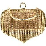 MEGAUK Damen Clutch Glitzer Elegant Abendtasche Glänzend Handtasche Envelope Tasche Strass Unterarmtasche mit Kette für Hochz