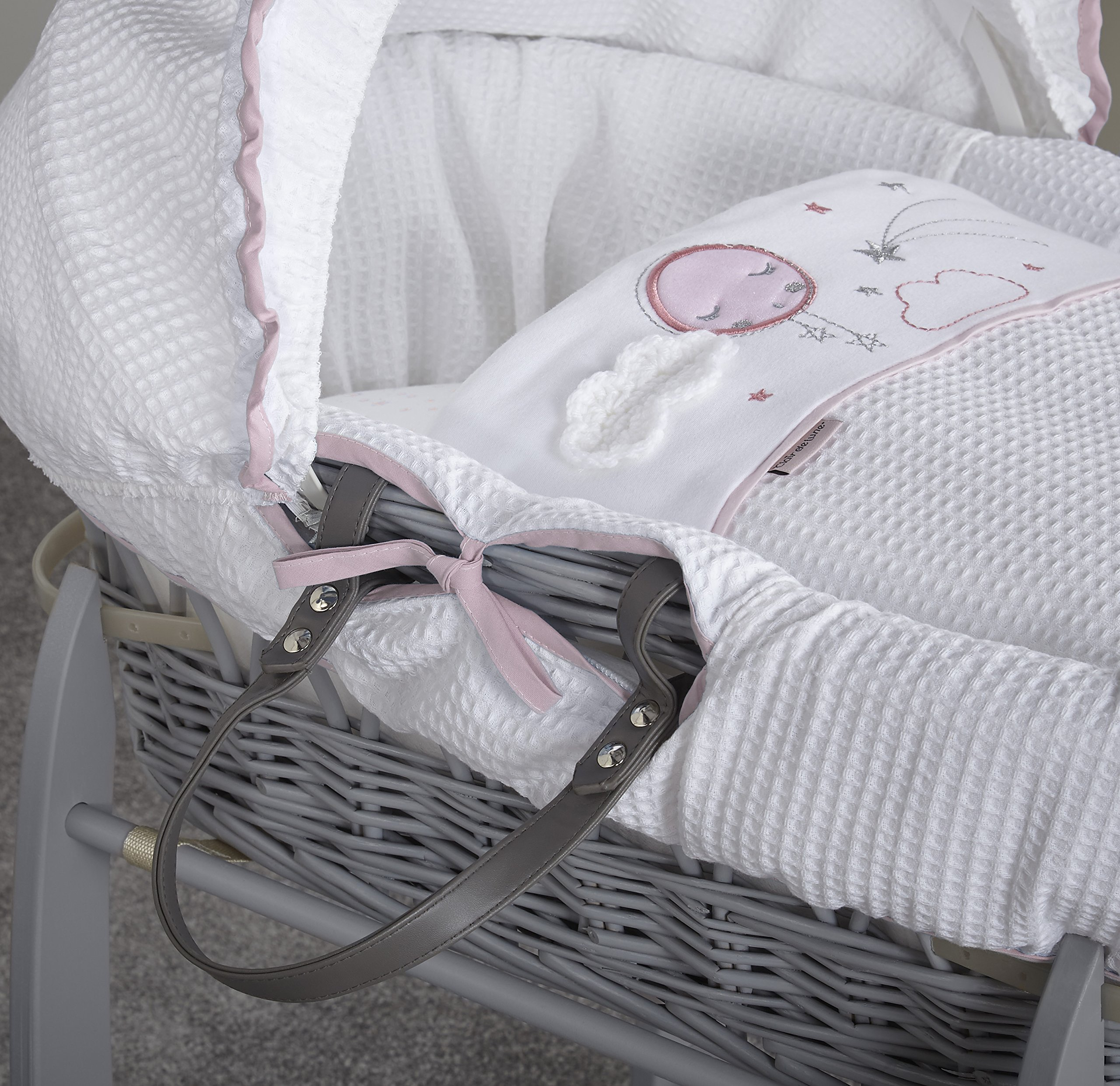 Clair de Lune Wicker Moses Basket, Pink/Grey, Over The Moon Clair de Lune Made from 100% super soft cotton fabric, featuring star prints and a sleepy moon with crocheted cloud appliqué for the perfect finishing touch. Comes complete with a removable, adjustable hood, padded liner, coverlet, 2 carry handles, and a mattress. *stand sold separately. Adjustable hood that's perfect for creating a cosy sleeping space for your precious little one. 3