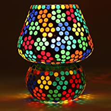 Mosaic Style Mushroom Shaped Table Lamp by Derien/Antique Night Lamp for Bedside and Living Room/Perfect Multicolor Home Decoration Item (Size: 16 X 16 X 18 cm) DE7795