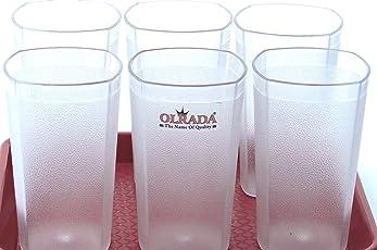 Olrada Food Grade Unbreakable 300ml Drinking Glasses Set of 6 Pcs (Transparent Assorted Design))