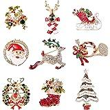 Milacolato 9Pcs Broche de Navidad Juego de Alfileres para la Familia Cristal de Diamantes de Lindos Alfileres de Navidad para