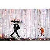 time4art Banksy gekleurde regen gekleurde regen graphics print canvas foto op spieraam doek 120cm x 80cm