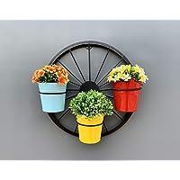 Maple Craft Metal Round Wheel Planter Bucket, Black, 16X5X16 Inch