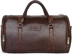 The Clownfish Unisex Premium Leatherette Travel Duffle Weekender Bag (Brown)