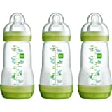 MAM Self Sterilising Anti-Colic Bottle 260 ml (3 pack Green/ White)