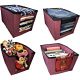 KYOTO Shirt Stacker Organizer For Clothes/Toys/Books/Files/Socks/Undergarments/Pants Organizer Non-Woven Top and Front…