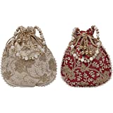 Kuber Industries Silk Embroidered 2 Pieces Women Potli Bag (Cream & Maroon) -CTKTC8825