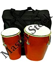 Master Stock Wooden Bongo, Brown Colour Professionals for Best Sounds and Taal with gig bag.