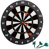Relaxdays Dartbord 42 cm, Softdart Safety Darts, 6 pijlen, kindvriendelijk, standaard veiligheidsdartbord, zwart-wit