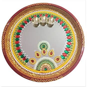 Jaipur Ace Pooja Thali Silver Plated 7 Pcs Set Pooja Thali