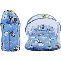 FARETO New Born Baby Gift Pack Teddy Print Mattress with Mosquito Net & Sleeping Bag Combo (Blue)
