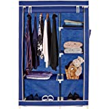 Amazon Brand - Solimo 1-Door Foldable Wardrobe, 6 Racks, Blue