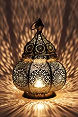 Orientalische Laterne aus Metall Ziva 30cm | orientalisches Marokkanisches Windlicht Gartenwindlicht | Marokkanische Metalllaterne für Draußen als Gartenlaterne, Oder Innen als Tischlaterne