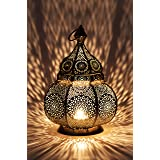 Petite Lanterne marocaine en métal Ziva 30cm argenté   Photophore marocain pour l'extérieur au jardin ou l'intérieur sur la t