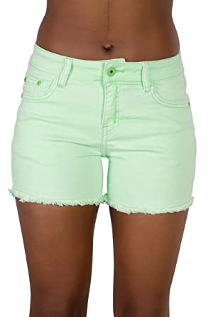 Womens Neon Green Soft Denim Shorts Ladies Mid Rise Short UK Sizes ...