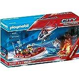 Playmobil City Action 70335 Brandweermissie, met Helikopter En Boot, Meerkleurig