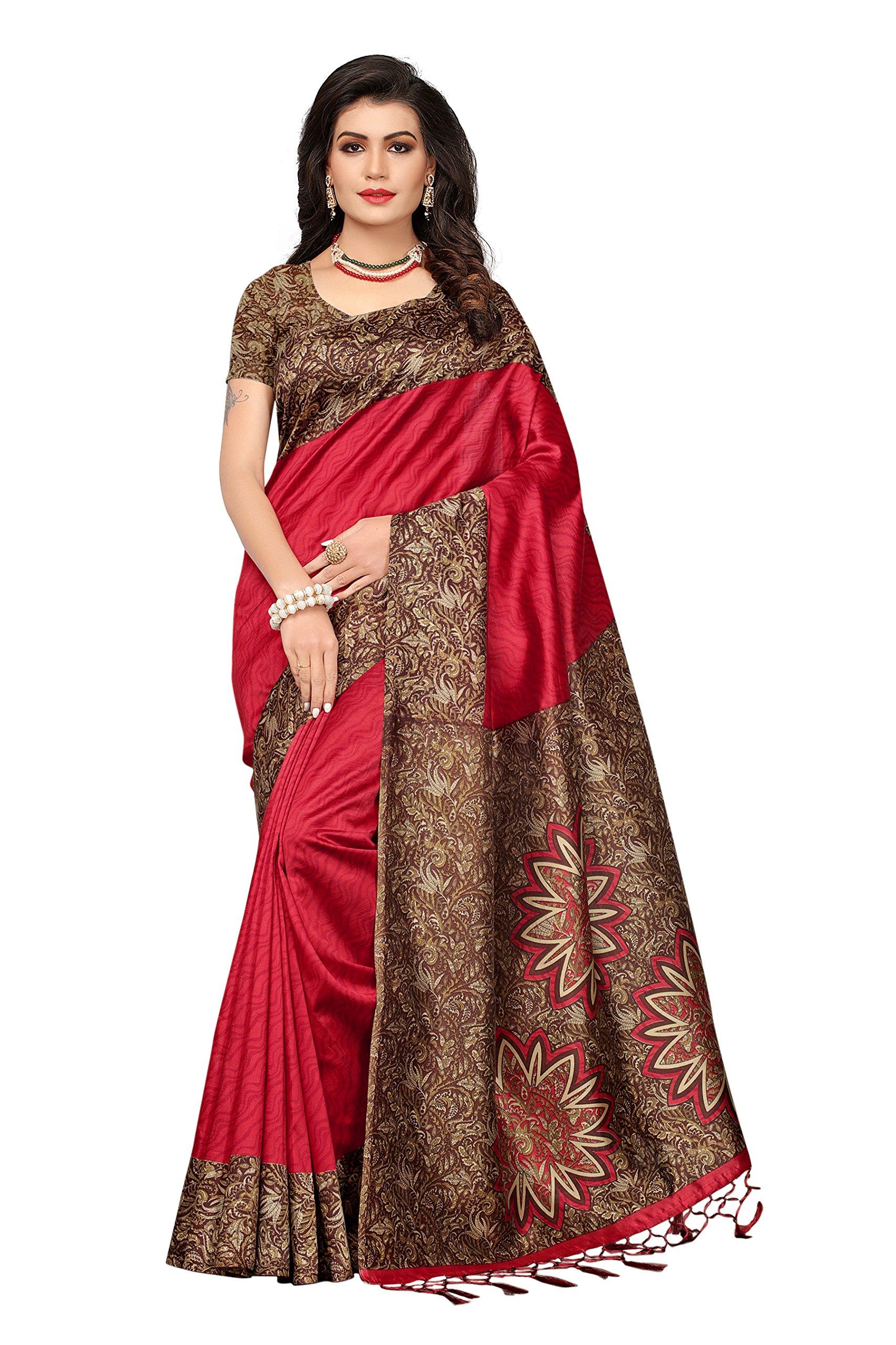 ab15f1f1802 ishin Art Silk Saree with Blouse Piece - lali mix india