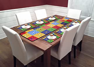 Reliable Trends PVC 6 Seater Dining Table Runners with Placemats (Sunflower, TR002)