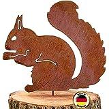 Glaskönig Écureuil rouillé assis – Piquet d'arbre décoratif en métal rouillé Hauteur 25 cm x largeur 21 cm – Décoration de ja