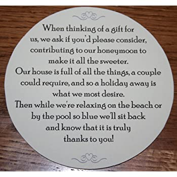 Wedding Money Gift Request Poem Cards For Wedding Invitations Set