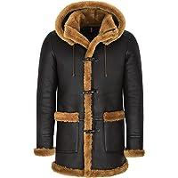 Smart Range Leather Montgomery in Pelle di Montone per Uomo Cappotto in Pelliccia di Zenzero Marrone con Cappuccio 100…