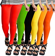 ESSEMM Combo Offer (Pack of 6) Casual Legging Premium Quality Super Soft Stretchable and Comfortable Free Size Leggings for Women/Girls