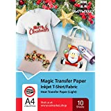 Iron on Transfer Paper for Light Fabric (Magic Paper) by Raimarket   10 Sheets   A4 Inkjet Iron On Paper/T Shirt Transfers  