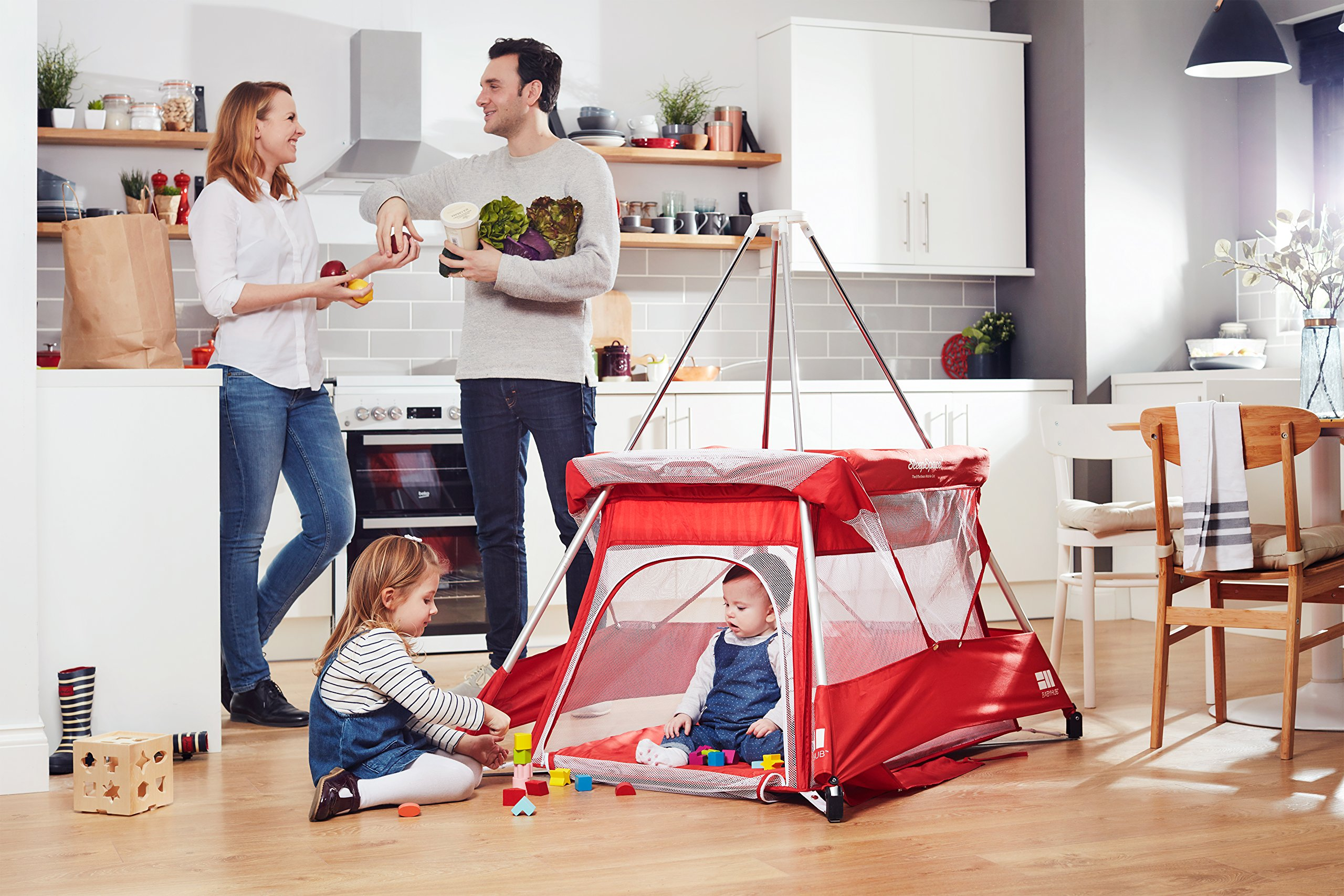 BabyHub SleepSpace Travel Cot with Mosquito Net, Red BabyHub Three cots in one; use as a travel cot, mosquito proof space and reuse as a play tepee Includes extra mosquito net cover that can be securely in place Can be set up and moved even while holding a baby 4