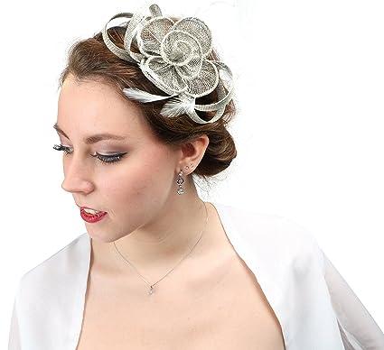 chapeauserre ttebandeau femme crmonie soire cocktail mariage demoiselle dhonneur accessoire cheveux en sisalplume cha001 argent amazonfr - Serre Tete Chapeau Mariage