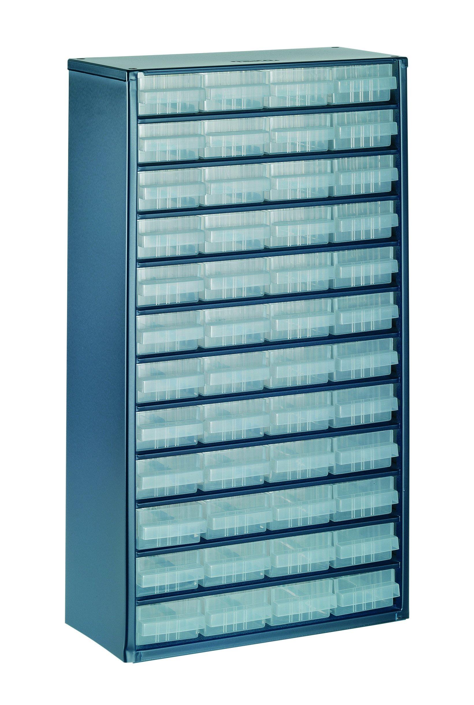 raaco 137393 1248-01 Casier avec 48 tiroirs, Bleu/Transparent