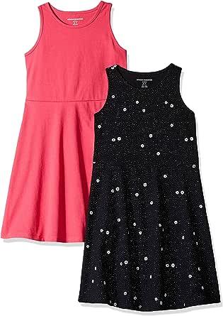 Amazon Essentials - Vestito smanicato da bambina, confezione da 2