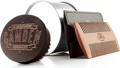 Camden Barbershop Company: Bartbürste & Bartkamm-Set, aus Walnuss- & Birnbaumholz - für die tägliche Bartpflege & das Auftragen von Bartöl, perfekt als Geschenk und für die Reise